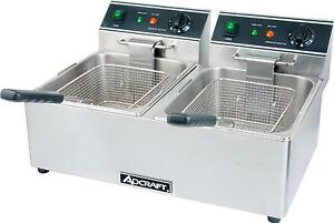 Adcraft Df 6l 2 Electric Counter Top Deep Fryer Dual Pot 15lb Per Pot