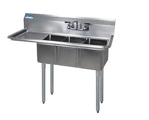 Bk Resources 3 Compartment Stainless Sink 16x20x12d Bowls W 18 Dboard