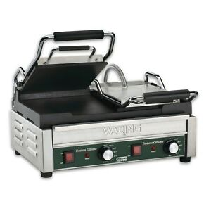 Waring Wfg300t Dual Sandwich Flat Toasting Grill 17 X 9 25 W Timer 240v