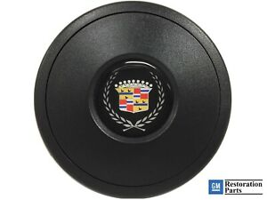 Volante S9 Black Horn Button Cadillac Crest Wreath Emblem
