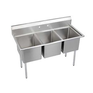 Elkay Foodservice 3 Compartment Sink 18 X 24 X 14 Bowls 16 300 Stainless