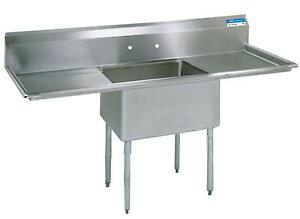Bk Resources Stainless 1 Compartment Sink 18 x18 x12 d W 2 Drainboards