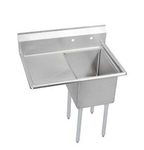 Elkay Foodservice 1 Compartment Sink 18 x24 x12 Bowl 16 300 Ss 24 Drainboard