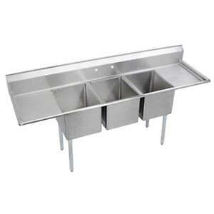Elkay Foodservice 3 Comp Sink 18 x24 x12 Bowls 16 300 S s Two 18 Drainboards