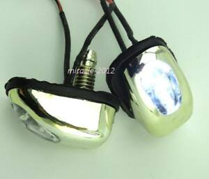 2x White Led Light Lamp Car Track Windshield Jet Spray Nozzle Wiper Washer Eyes