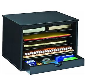 Office Supplies Desk Organizer With Drawer Tray Filing File Storage Shelves Wood