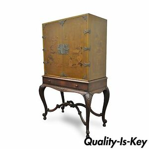 Antique Chinoiserie George Iii Style Hand Painted Highboy Chest Cabinet Cupboard