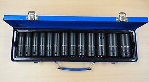 1 2 Dr Deep Impact Socket Set Metric Thin Wall 13 Sockets 11 32mm 14 Pc
