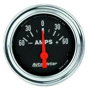 Autometer Traditional Chrome 2 1 16 Ammeter 60 0 60 Amps Gauge