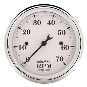 Autometer Old Tyme White 3 1 8 In dash Tachometer 0 7000 Rpm Gauge