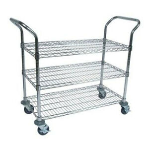 John Boos 36 X 18 Mobile Chrome Wire Utility Bus Cart With 3 Shelves