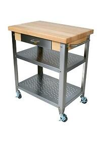 John Boos Cuce30 30 Mobile Butcher Block Cart W 2 Shelves 1 Drawer