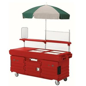Cambro Kvc856158 6 Pan Well Vending Merchandising Cart W Umbrella Hot Red