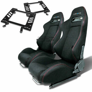 Nrg Type R Racing Seat Black Cloth Silder Rail For 79 98 Ford Mustang Bracket X2