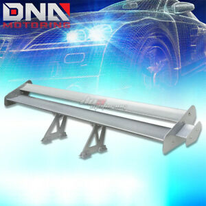 Gt 55 Powder Coated Back Trunk Double Deck Racing Spoiler Extended Wing Silver