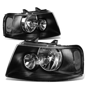 Fit 2003 2006 Ford Expedition Pair Black Housing Clear Corner Headlight Lamp Set