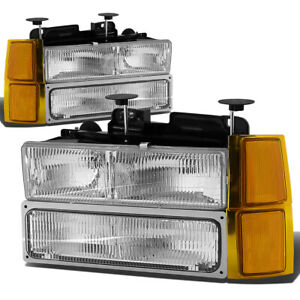 Fit 94 99 Chevy C10 C k Pickup Truck Oe Clear Lens Headlight amber Signal Lamp