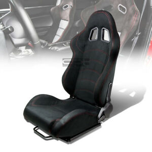 1 X Black Suede Reclinable Sports Racing Seats Universal Slider Driver Left Side