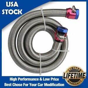 Engine Stainless Steel Flex Braid Fuel Line Kit 3 8 I D Hose 3 Two Blue Clamps