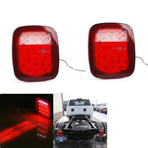 2x Red White 16 Led Stop Turn Signal Tail Light For Ford Truck Trailer Jeep