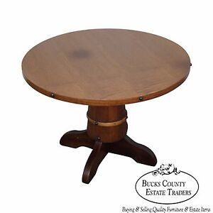 Vintage Oak Round Barrel Base Coffee Table