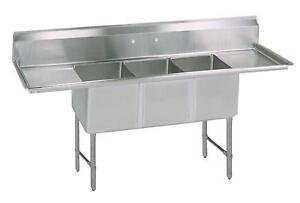 Bk Resources 3 20 x20 x14 Deep Compartment Sink 24 Drainboard L