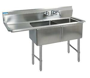 Bk Resources Bks 2 18 12 18l Two 18 x18 x12 Compartment Sink Left Drainboard