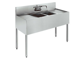 Krowne Metal 2 Compartment Bar Sink Stainless 19 d W Two 12 Drainboards
