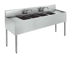 Krowne Metal 4 Compartment Bar Sink 21 d W Two 18 Drainboards Stainless