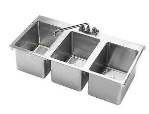 Krowne Metal Hs 3819 3 Compartment Drop in Hand Sink W 12 Spout Faucet