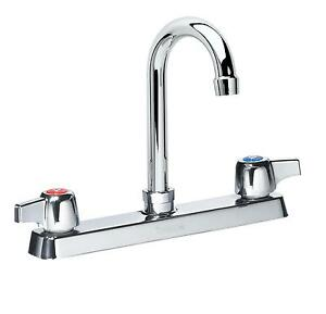 Krowne Metal 13 802l 8 5 Gooseneck Deck Mount Faucet 8 Center Low Lead Nsf