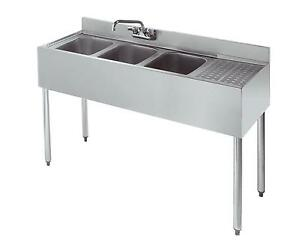 Krowne Metal 18 43 3 Compartment 18 5 d Bar Sink W 12 Drainboard Nsf