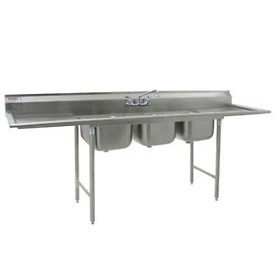 Eagle Group 414 Series Stainless Steel Sink 3 Compartment W Drainboards
