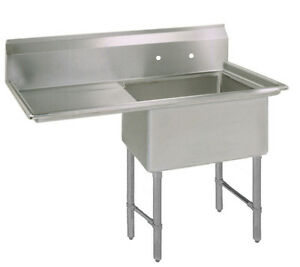 Bk Resources One 18 x24 x14 Compartment Sink S s Leg 24 Left Drainboard
