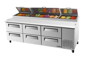Turbo Air 93 Pizza Prep Table 12 Pans 6 Cooler Drawers Tpr 93sd d6