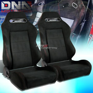 X2 Reclinable Black Suede red Type r Racing Sports Bucket Seat seats slider Rail