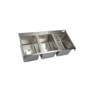 Bk Resources Bk dis 1014 3 Three Compartment 36x18 Stainless Steel Drop in Sink