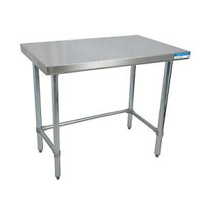 Bk Resources Svtob 1896 96 wx18 d All Stainless Steel Open Base Work Table