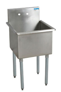 Bk Resources 21 x21 Single Compartment Stainless Steel Budget Sink