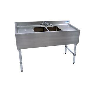 Bk Resources Bkubs 248ts 48 w Two Compartment Stainless Steel Underbar Sink