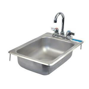 Bk Resources One Compartment 12 1 4 x18 Stainless Steel Drop in Sink