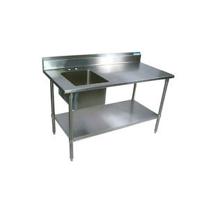 Bk Resources 60 wx30 d Stainless Steel Prep Table W Left Side Sink