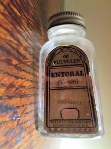 Vintage Eli Lilly Entoral Medicine Bottle Pulvules Apothecary Lung Remedy 3 1 2