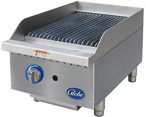 Globe Gcb15g cr 15 Counter top Natural Gas Char broiler Cast Iron Radiant