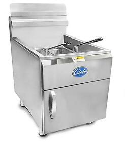 Globe Gf30g 30lb Stainless Steel Countertop Gas Deep Fryer 53000 Btus