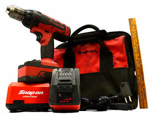 Snap on Cdr8850h Cordless 1 2 Hammer Drill Power Tool 2 Batteries