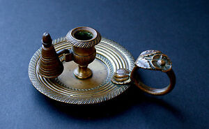 Antique French Bronze Brass Miniature Chamber Stick Dolls House
