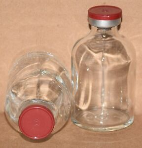 50 Ml Clear Sterile Vial W Brick Red Plain Flip Top Seal Qty 5