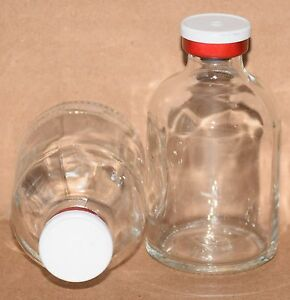 50 Ml Clear Sterile Vial W White Red Plain Flip Top Seal Qty 5