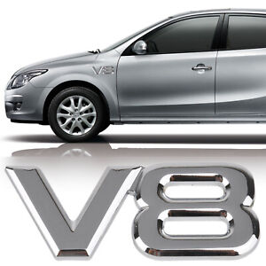 3d Metal V8 Logo Car Emblem Badge Sticker Decal Fit For Toyota Bmw Silver